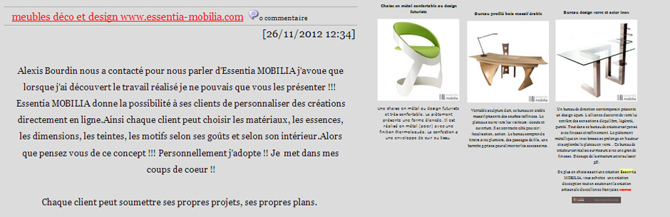 Essentia Mobilia dans le blog de Luka Deco Design