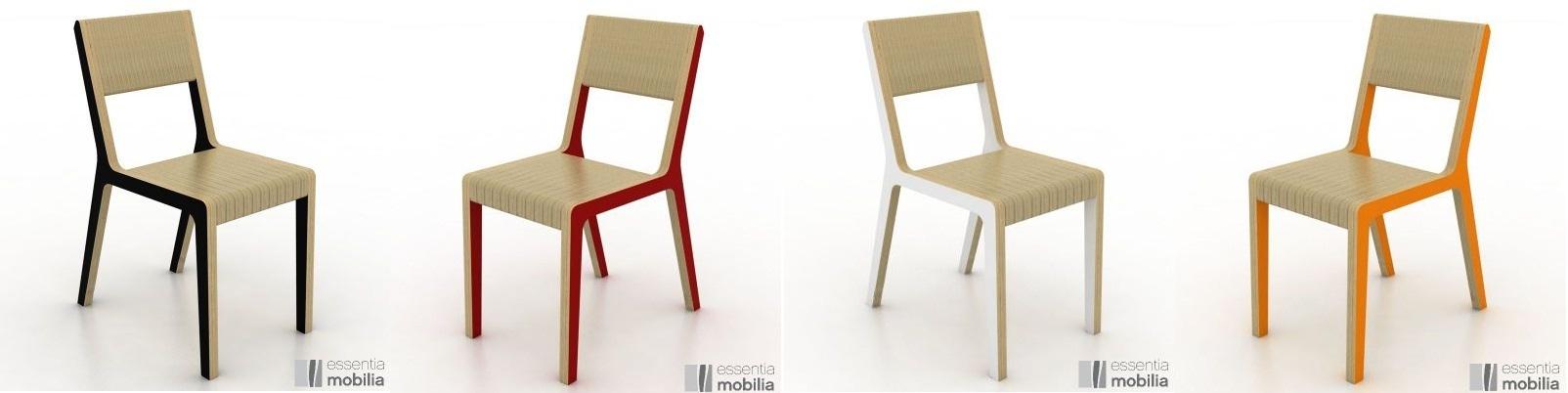 chaises colorées au design épuré en bois confortable