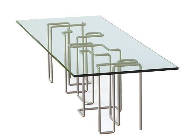 Zeros and Ones - Brad Pitt & Franck Pollaro - Table verre et acier inox - design 2011