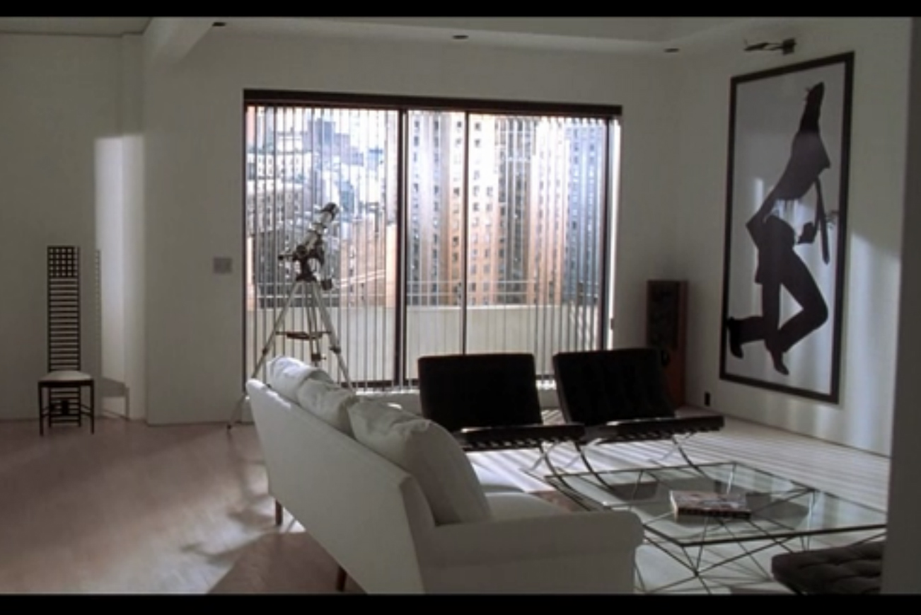 American psycho-Mary Harron-Hill House chair-barcelona chair-Alana coffee table