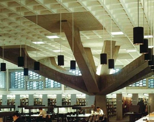 Marcel Bauer - Bibliothèque universitaire -Abbaye St John et complexe universitaire - Collegeville -© Photo Hedrich Blessing